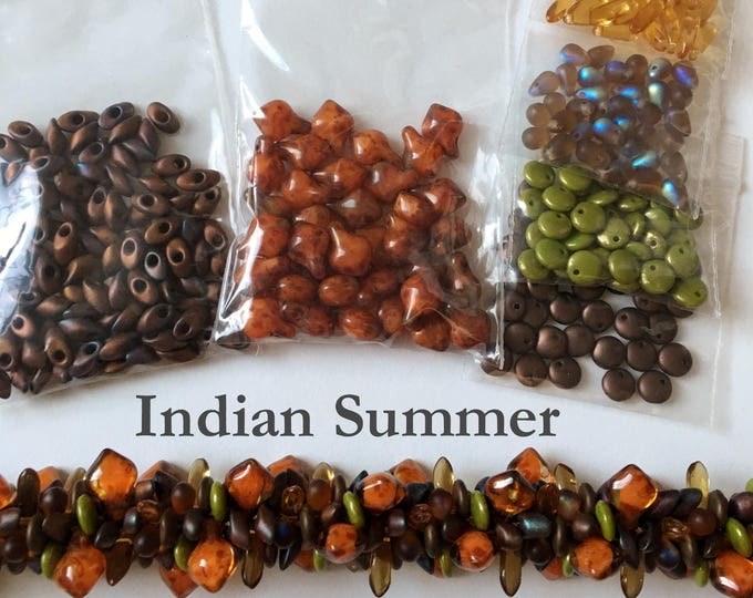 Indian Summer Bead Kit to Create a Gorgeous Autuminal Beaded Kumihimo Focal Group, Beads Only