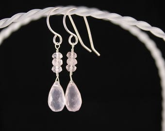 Rose Quartz Drop Earrings, Argentium Silver Ear Wires