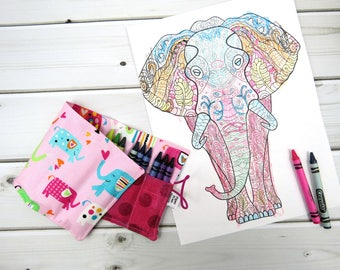 Crayon Roll - Girl Elephants -  24 crayons, animal party favor, toddler gift, stocking stuffer, rollerbottle holder,