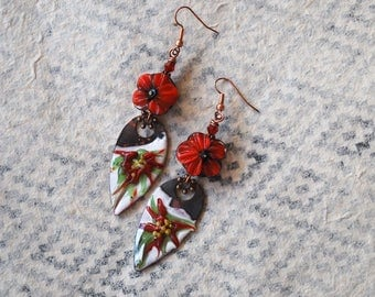 Poinsettias Earrings, Enameled Copper Earrings, Flower Earrings, Red Christmas Earrings, Artisan Enamel, Lampwork Glass Bead Earrings
