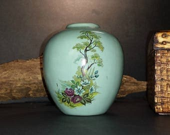 Vintage Turquoise Blue Bud Vase / Iridescent Blue Bud Vase Pink Flowers Stately Tree / Ginger Jar Shaped Bud Vase with Asian Floral Motif