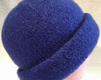 Navy blue hand knit felted wool hat with folded back brim