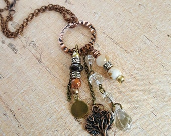 Tree of Life Charm Necklace - Copper and Brass Charms - Handmade - Long Charm Necklace - Beaded - Copper Chain - Unique Gift