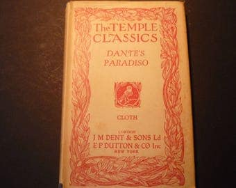 Paradisio Dante Aligerieri Everyman's Library 1941 First Edition J M Dent Publisher beautiful edition Temple Classic series
