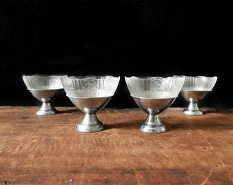 Vintage Dessert Cups, Set of 4, Glass Dessert Cup, Vintage Diner, Pudding Cup, Ice Cream Dish, Chrome