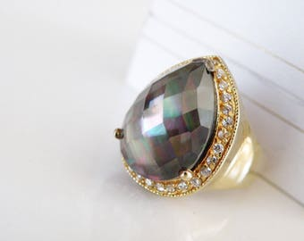 Designer Large Big Chunky 14K on Sterling Silver 925 Abalone Color Change Doublet Faceted Bold Ring Size 6
