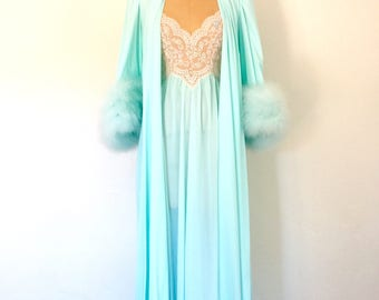 1960s Vintage Lingerie Ostrich Feather Nightgown Lace Light Blue Lucie Ann XS/S