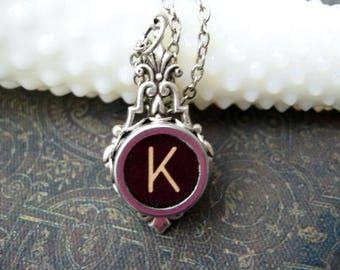 Typewriter Key Jewelry - Typewriter Necklace Letter K