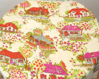 1970s scarf Glentex scarf large silk square scarf houses cottages pink green novelty scarf