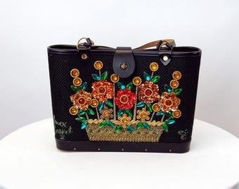 Enid Collins tote purse Flower Basket sequins beads hand painted 1966 copyright