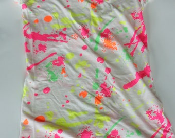 1 Vintage 90s Neon Splattered Paint Drip Shirt - BLACKLIGHT GLOW PARTY - Size Medium, Girls Teen/Tween Petite Womens, 100% Cotton, Retro Top