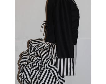 Black White Striped Bustle Jacket Goth Gothic Victorian Steampunk Steam Punk Ringleader Circus Burlesque Custom Size including Plus Sizes