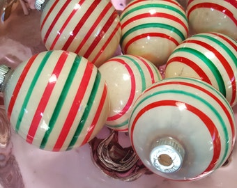 7 Shiny Brite Striped Glass CHRISTMAS Ornaments Mid Century Bulbs