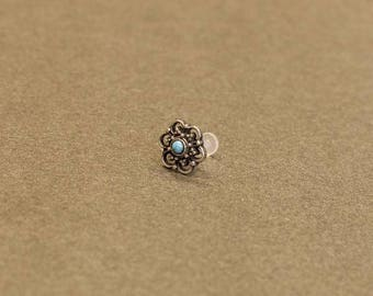 Tragus earring, Silver flower tragus stud, Labret stud,  Tragus piercing, Tragus jewelery, Cartilage, Helix, Rook, Body piercing, Tribal