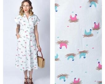Vintage 1950's Hen Print Cotton Dress/ 50's Novelty Print Button Front Shirt Dress Size Large
