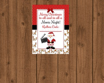 Redbox Gift Tag,Movie Certificate,To all a Movie Night,Gift Card,Santa Movie,DVD Gift Card,Redbox Coupon,Stocking Stuffer,Instant Download