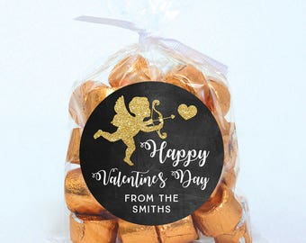 Valentine's Day Stickers - Gold Cupid with Chalkboard Background - Sheet of 12 or 24