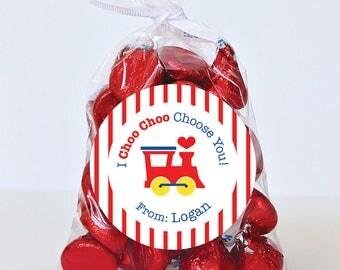 Valentine's Day Stickers - Train - I Choo Choo Choose You  - Sheet of 12 or 24
