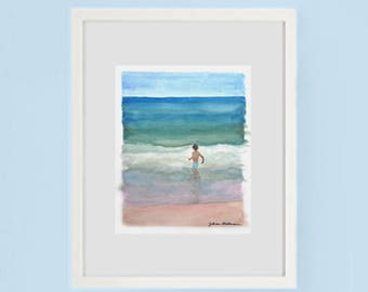 Dancing with the Waves Fire Island Watercolor Painting Original Art Framed