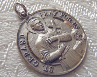 Vintage Medal St. Gerard and Our Lady of Perpetual Help Sterling Silver