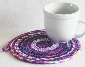 Coiled Rope Mat / Fabric Coiled Mat / Mug Rug / Trivet / Hot Pad / Round Coiled Mat / Purple Passion by PrairieThreads