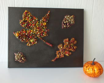 Beaded Fall Leaves and Acorns Wall Art