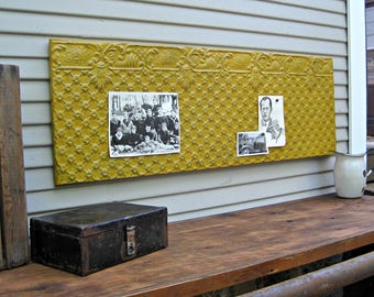 Tin Ceiling Tile. Large 4' Magnet Board. Antique Architectural salvage. Office wall decor. Large gold wall art, Pressed tin tile
