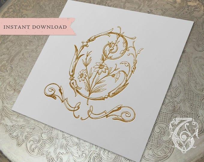 Vintage Wedding Crest Initial O Digital Download