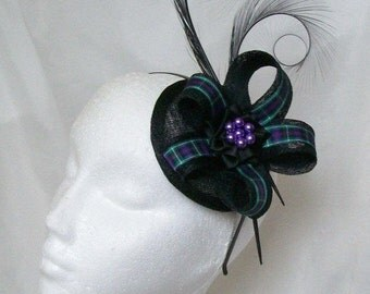 Tartan Fascinator - Black Pheasant Curl Feather Ribbon Stripe Sinamay & Pearl Scottish Highlands Wedding Fascinator Mini Hat - Made to Order