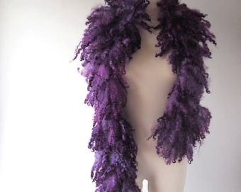 Fur collar Curly Felted collar Purple Violet felt collar  Purple dark blue Fur scarf  Pure Wool Fleece real fur scarf Felt necklace