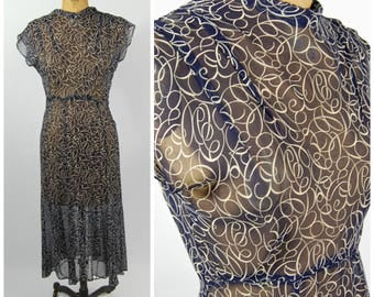1930s Silk Day Dress // 34 35 Bust // 30s Sheer Bias Cut Art Deco Swirl Print // Cowl Neck Flutter Sleeves - 1930s