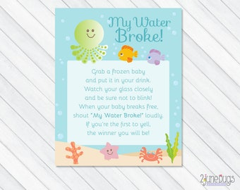 Under the Sea My Water Broke Baby Shower Game Sign in Blue, Beach Baby Shower Game Sign, Ice Cube Baby Shower, PRINTABLE INSTANT DOWNLOAD