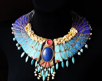 Cleopatra necklace/ Couture necklace/ statement necklace/ fancy necklace/ extra large collar/ big Native Egypt necklace golden