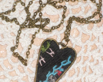 Heart Necklace Quilt Pendant Black Teal Gift For Her Repurposed Quilt Jewelry Feather Stitched Quilt OOAK Necklace With Gift Box