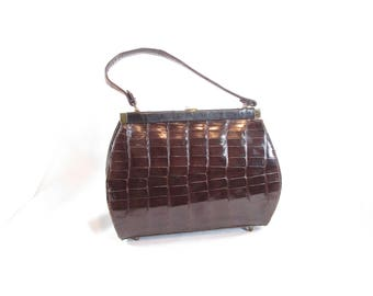 Vintage Brown Patent Alligator Purse with Coin Purse and Mirror