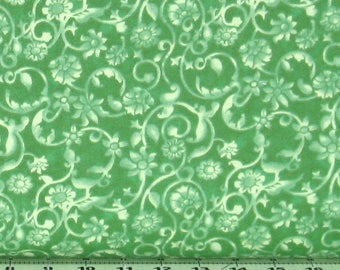 """Green Tone on Tone Floral Wide Backing 108"""" Wide 100% Cotton Backing Quilt Fabric, Material by the Yard, Fabric for Sale, GALGAGQB-611"""