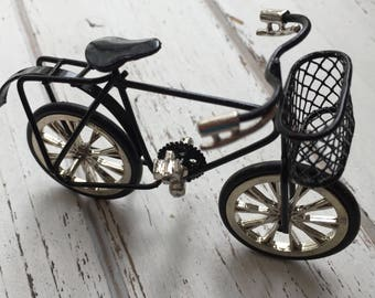 Miniature Child Size Bike, Black Bicycle, Dollhouse Miniature, 1:12 Scale, Bike With Basket, Accessory, Crafts, Shelf Sitter, Decor, Topper