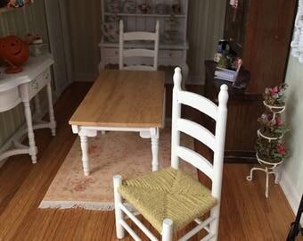 Miniature Chair, Shaker Style White Wood Side Chair, Dollhouse Miniature Furniture, 1:12 Scale, Mini White Chair