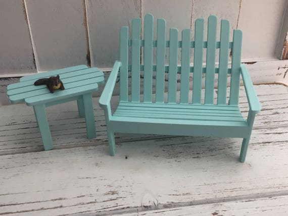Miniature Aqua Adirondack Love Seat and Side Table Set, Wood Dollhouse Miniature Furniture, 1:12 Scale, Mini Garden Furniture