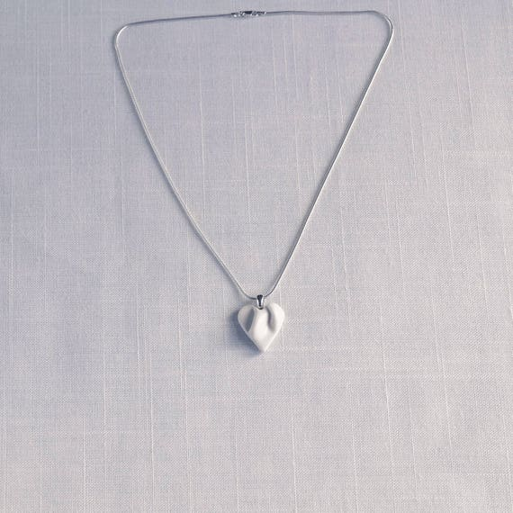 Work of HEART sculpted porcelain necklace, small ceramic heart pendant, grey satin cord, white ceramic glaze, gift box