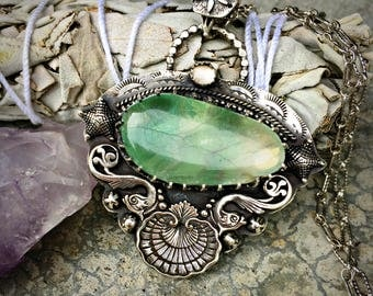 RESERVED - Balance DueMermaid Magic - Fluorite and Quartz Sterling Silver Handcrafted Necklace- Boho - Bohemian - Beach - Shells - Starfish