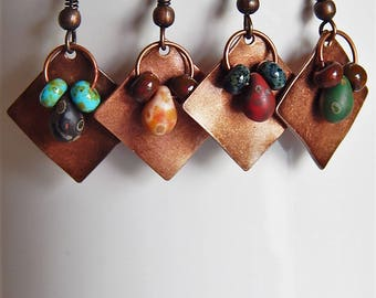 Copper and czech glass earrings - colorful - picasso glass - antiqued copper - petite dangle earrings - boho style - bohemian jewelry