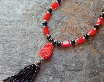 Tassel necklace - exotic red and black long statement necklace - cherry red quartz and black crystal necklace - bohemian - avant garde