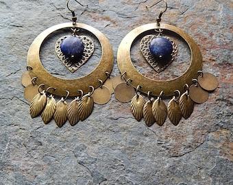 Lapis lazuli statement earrings - big fancy chandelier earrings - midnight blue - gypsy - gemstone jewelry - bohemian style - big brass hoop