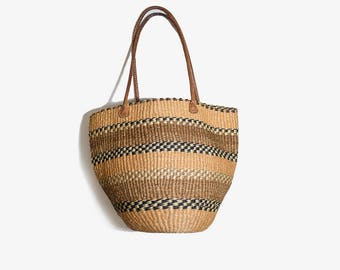 Vintage Market Bag / Market Tote Bag / Straw Purse / Woven Jute Bag / Sisal Tote Bag