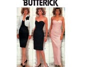 80s Strapless Prom Formal Dress & Bolero Pattern Butterick 6991 Sheath Wiggle Evening Gown and Jacket Size 6 8 10 UNCUT Factory Folded
