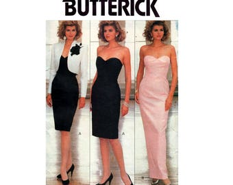 Butterick 6991 Womens 80s Strapless Prom Formal Dress & Bolero Sheath Wiggle Evening Gown and Jacket Size 6 8 10