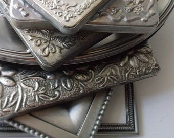Pewter Picture Frames. Ornate Embossed French Chic Frames. Victorian Style Portrait Frames mix. set of 7 Frames. Wedding table