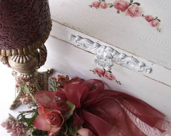 Wood Jewelry Chest - Shabby Chic Jewelry Box - White Jewelry Box - Storage Chest - Shabby Pink Roses