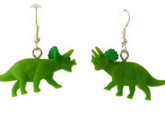 Dinosaur Earrings Green Triceratops, Dino Earrings, Gift for Her, Gift Woman